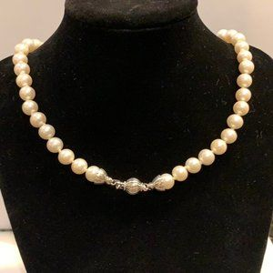 """Lagos Sterling Silver Luna Pearl Necklace, 18"""""""